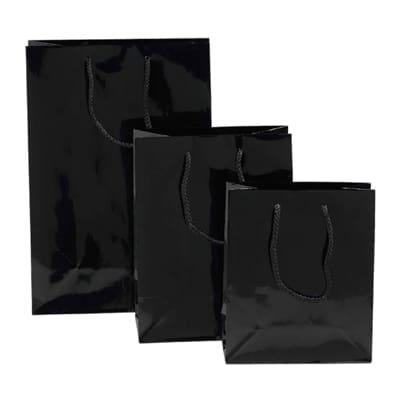 Black Gloss Rope Handle Carry Bag
